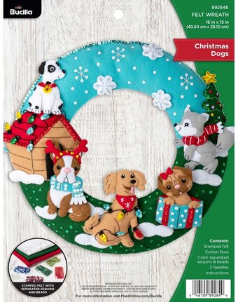 Christmas Dogs - Christmas Wreath - Felt Applique Kit
