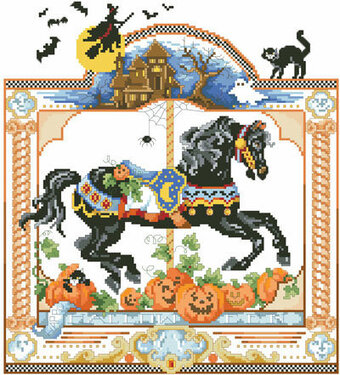 Haunted October Nights - Halloween Cross Stitch Pattern