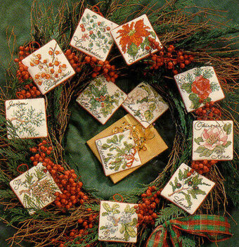 Christmas Botanical Ornaments - Cross Stitch Pattern