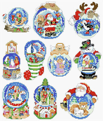 Snow Dome Christmas Ornaments - Cross Stitch Pattern