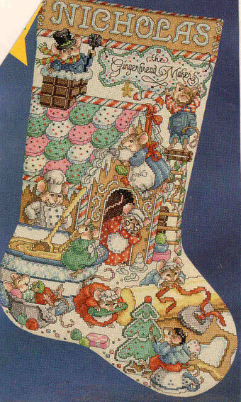Gingerbread Mice Christmas Stocking - Cross Stitch Pattern