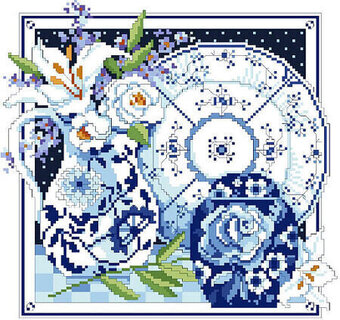Blue and White Still Life - Cross Stitch Pattern