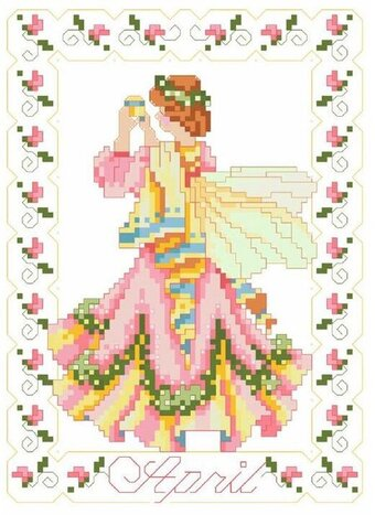 Birthday Faeries April - Cross Stitch Pattern