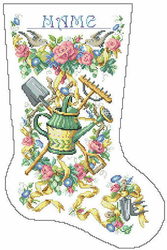 Gardener's Christmas Stocking - Cross Stitch Pattern