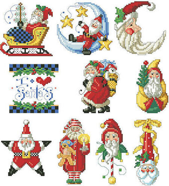 I Love Santa Christmas Ornaments - Cross Stitch Pattern