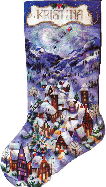 Christmas Village Stocking - Cross Stitch Pattern
