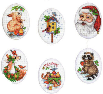Santa and Animals Christmas Ornaments - Cross Stitch Pattern