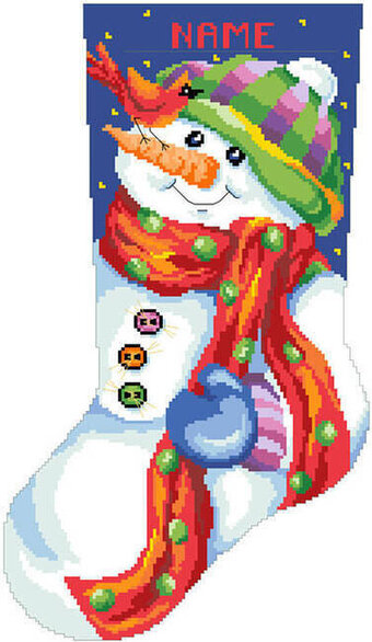 Jolly Snowman Christmas Stocking - Cross Stitch Pattern