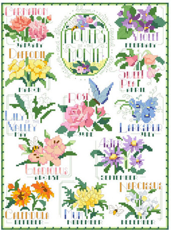 "Design Works MONTHS OF THE YEAR Counted Cross Stitch Kit  11/"" x 14/"" SALE!!!!!!!!"