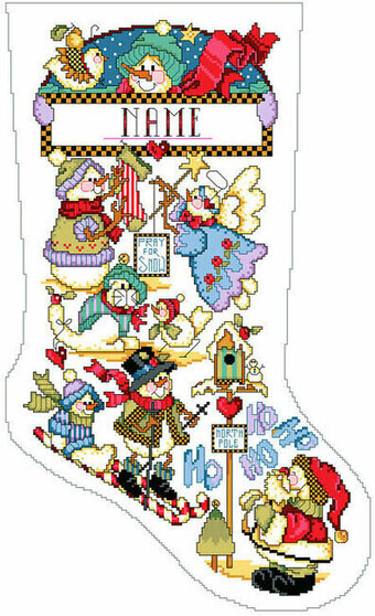 Snowmen Playing Christmas Stocking - Cross Stitch Pattern
