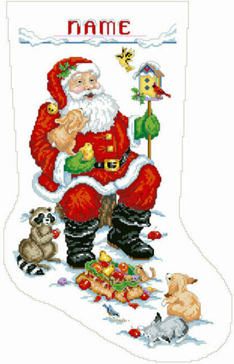 Santa and Animals Christmas Stocking - Cross Stitch Pattern