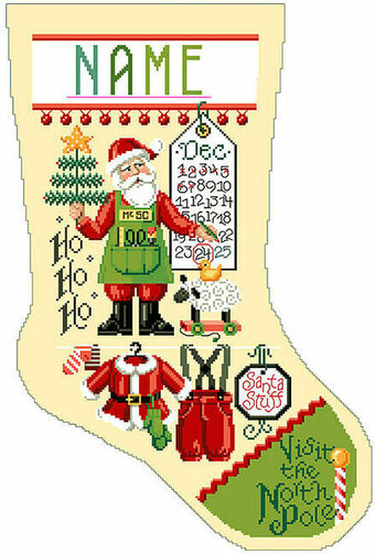 Santa Stuff Christmas Stocking - Cross Stitch Pattern