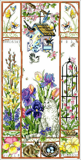 Spring Cat Sampler - Cross Stitch Pattern