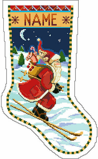Skiing Santa Christmas Stocking - Cross Stitch Pattern