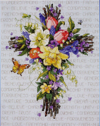 Spring Floral Cross - Cross Stitch Pattern