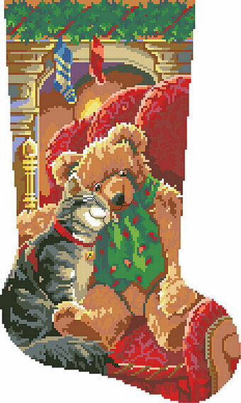 Christmas Cuddles Stocking - Cross Stitch Pattern