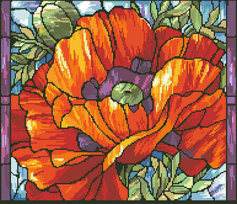 Stained Glass Poppies - Cross Stitch Pattern