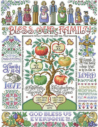 Bless Our Family Sampler - Cross Stitch Pattern