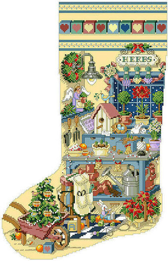 Gardener's Delight Heirloom Stocking - Cross Stitch Pattern