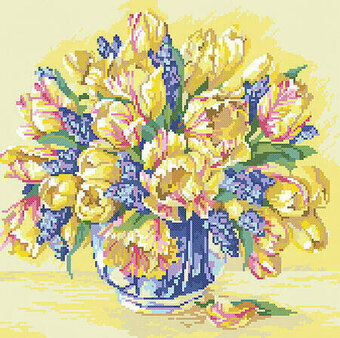 Watercolor Tulips - Cross Stitch Pattern
