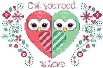 Owl You Need is Love - Valentine's Day Cross Stitch Pattern