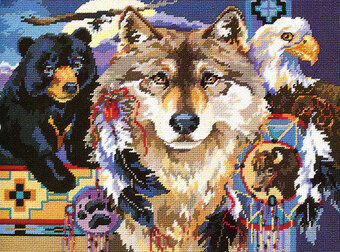 Cross Stitch Pattern Christmas Animal Chart White Wolf Image
