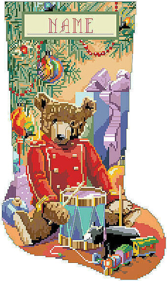 Little Drummer Bear Christmas Stocking Cross Stitch Pattern