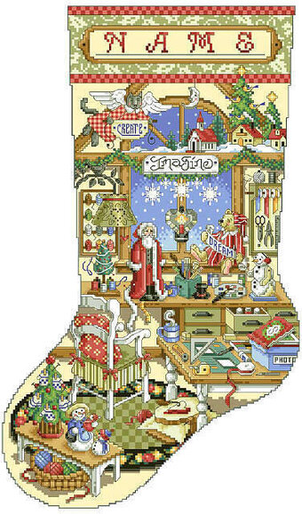 Crafter's Corner Stocking - Cross Stitch Pattern