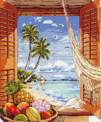 Tropical Vacation Window - Cross Stitch Pattern