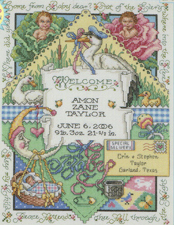 Keep Thy Child Birth Announcement - Cross Stitch Pattern