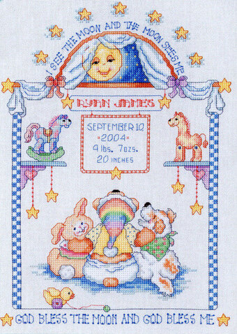 I See The Moon Birth Announcement - Cross Stitch Pattern