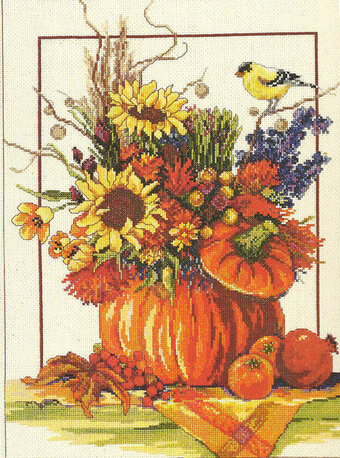 Fall Floral Arrangement - Cross Stitch Pattern