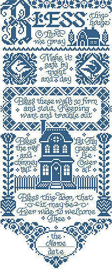 Bless This House Bell Pull - Cross Stitch Pattern