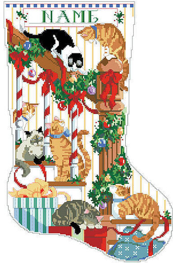 Curious Cats Christmas Stocking - Cross Stitch Pattern