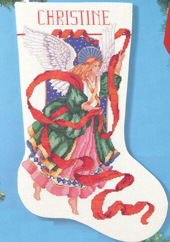 Celestial Angel Christmas Stocking - Cross Stitch Pattern