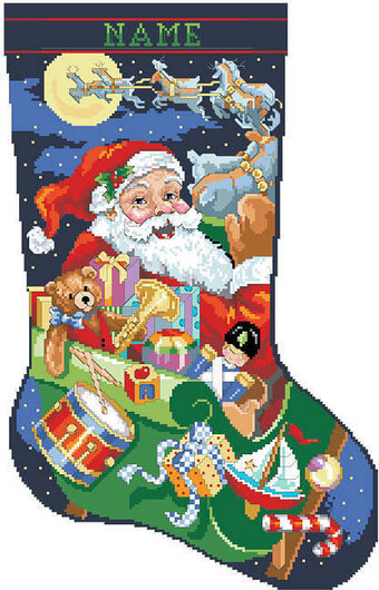 Jolly Old St Nick Christmas Stocking - Cross Stitch Pattern