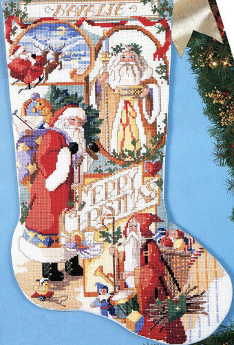 Santa Collage Christmas Stocking - Cross Stitch Pattern