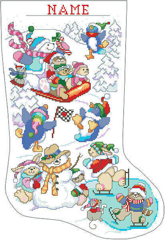 Winter Fun on Ice Christmas Stocking - Cross Stitch Pattern