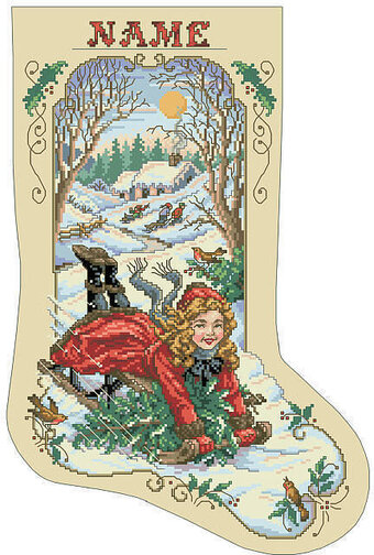Bygone Days Christmas Stocking - Cross Stitch Pattern