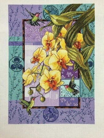 Orchids and Hummingbirds - Cross Stitch Pattern