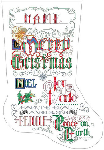 Kooler Design Studio Calligraphy Christmas Stocking Cross Stitch Pattern 123stitch