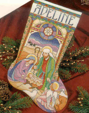 Stained Glass Nativity Christmas Stocking - Cross Stitch