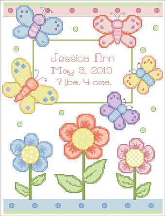 Butterfly Birth Announcement - Cross Stitch Pattern