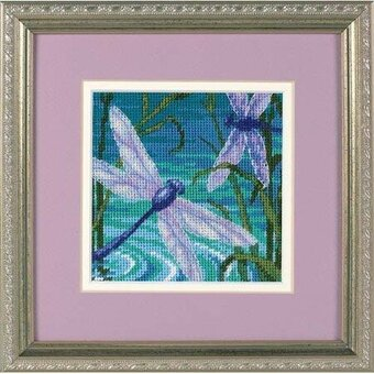 "Dimensions Dragonfly Pair Mini Needlepoint Kit-5/""X5/"" Stitched In Thread /& Ribbon"