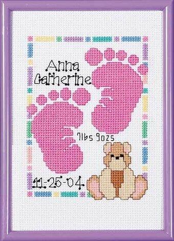 Janlynn Baby Footprints Birth Announcement Cross Stitch