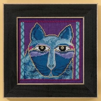 Wild Blue Cat (Linen) - Cross Stitch Kit