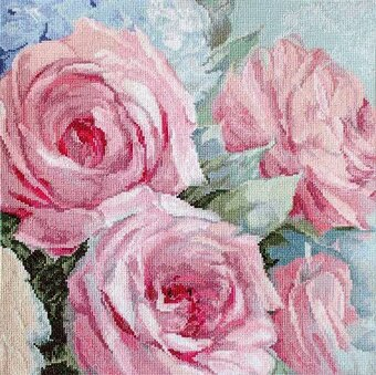 Pale Pink Roses - Cross Stitch Kit