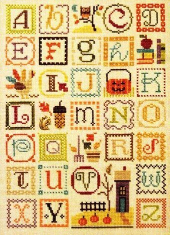 Autumn Alphabet (with Embellishments) - Cross Stitch Pattern