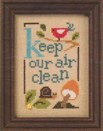 Green Flip-It - Keep Our Air Clean - Cross Stitch Pattern