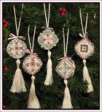 Biscornuments 5 Mini Christmas Ornaments Stitch Pattern